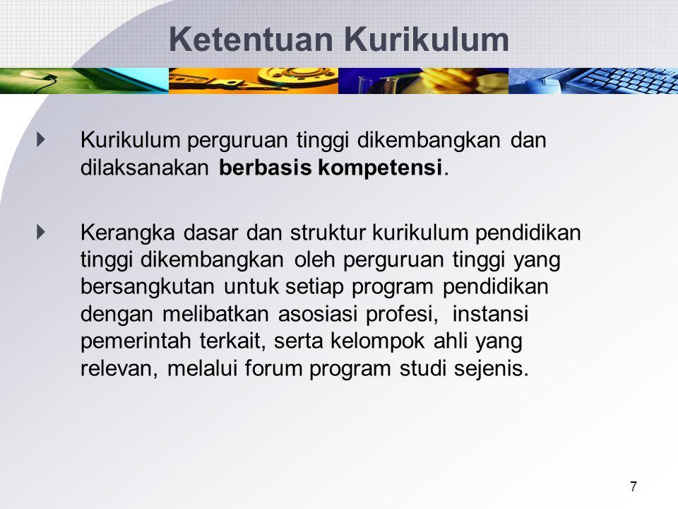 Ketentuan Kurikulum Kurikulum perguruan tinggi dikembangkan dan dilaksanakan berbasis kompetensi.