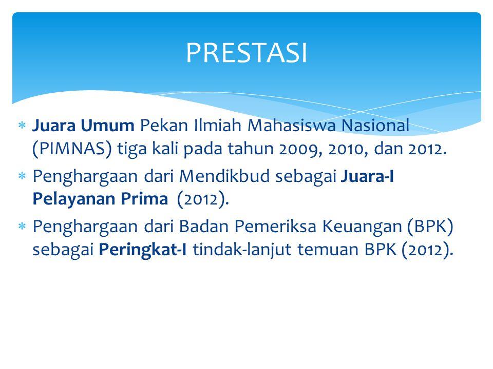 PRESTASI Juara Umum Pekan Ilmiah Mahasiswa Nasional (PIMNAS) tiga kali pada tahun 2009, 2010, dan 2012.