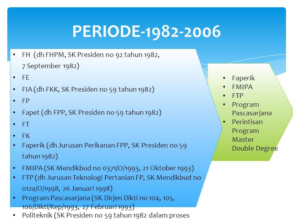 PERIODE-1982-2006 FH (dh FHPM, SK Presiden no 92 tahun 1982, 7 September 1982) FE. FIA (dh FKK, SK Presiden no 59 tahun 1982)
