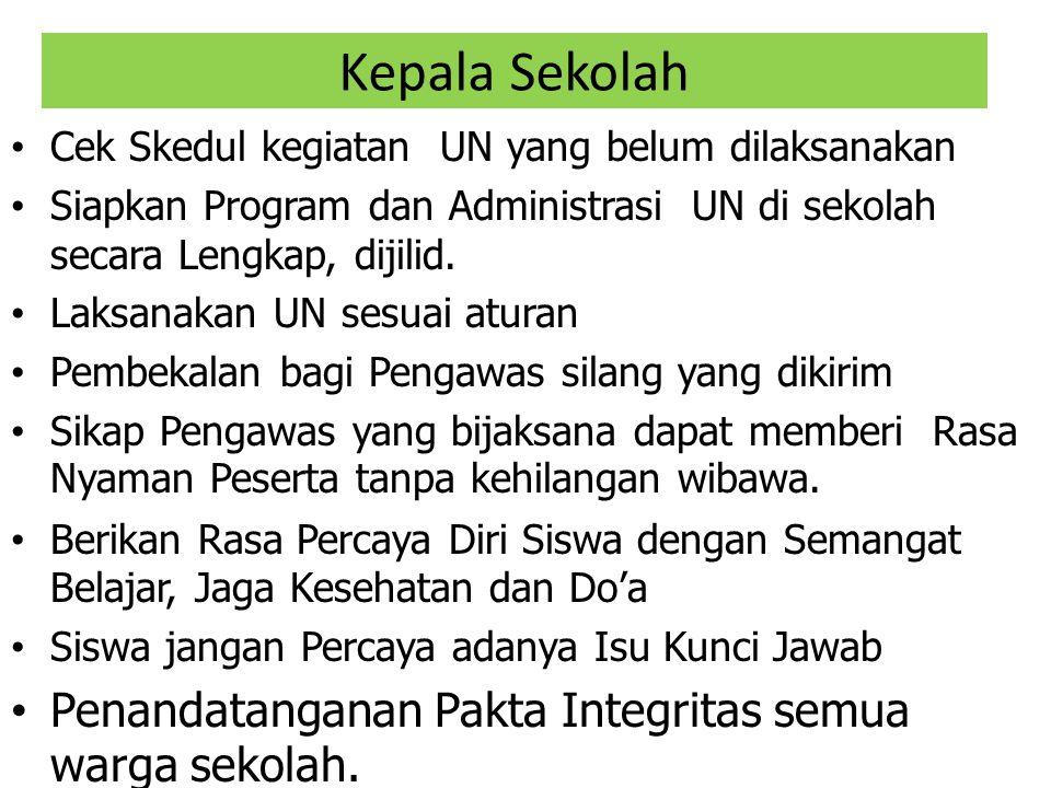 Kepala Sekolah Penandatanganan Pakta Integritas semua warga sekolah.