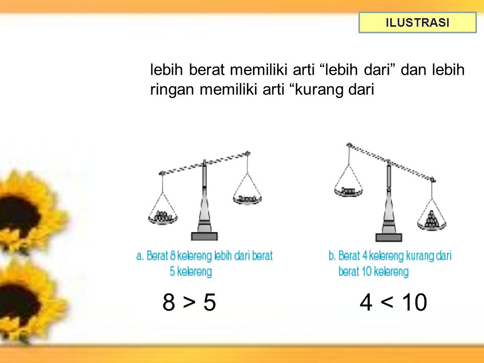ILUSTRASI lebih berat memiliki arti lebih dari dan lebih ringan memiliki arti kurang dari. 8 > 5.