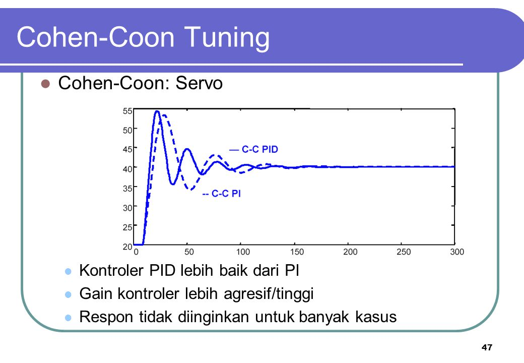 Cohen-Coon Tuning Cohen-Coon: Servo Kontroler PID lebih baik dari PI