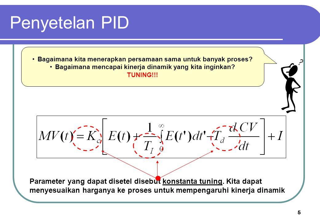 Penyetelan PID Bagaimana kita menerapkan persamaan sama untuk banyak proses Bagaimana mencapai kinerja dinamik yang kita inginkan