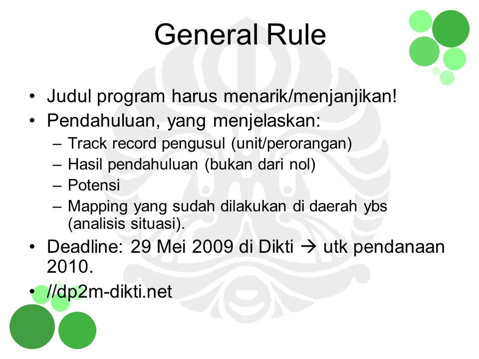 General Rule Judul program harus menarik/menjanjikan!
