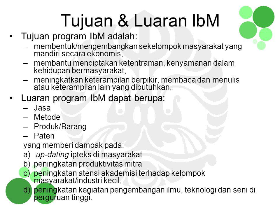 Tujuan & Luaran IbM Tujuan program IbM adalah: