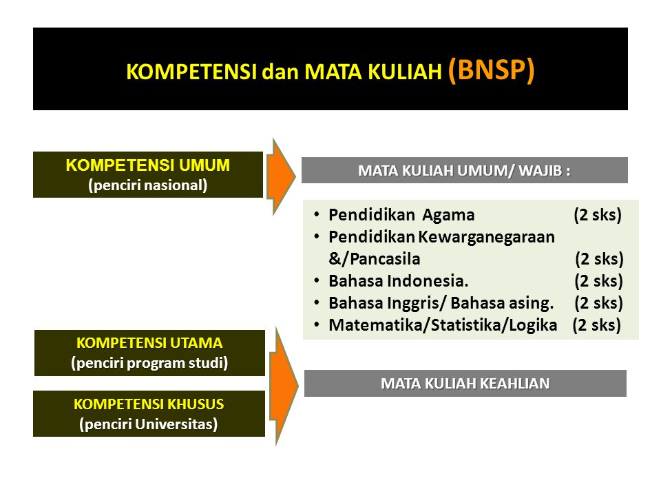 KOMPETENSI dan MATA KULIAH (BNSP)