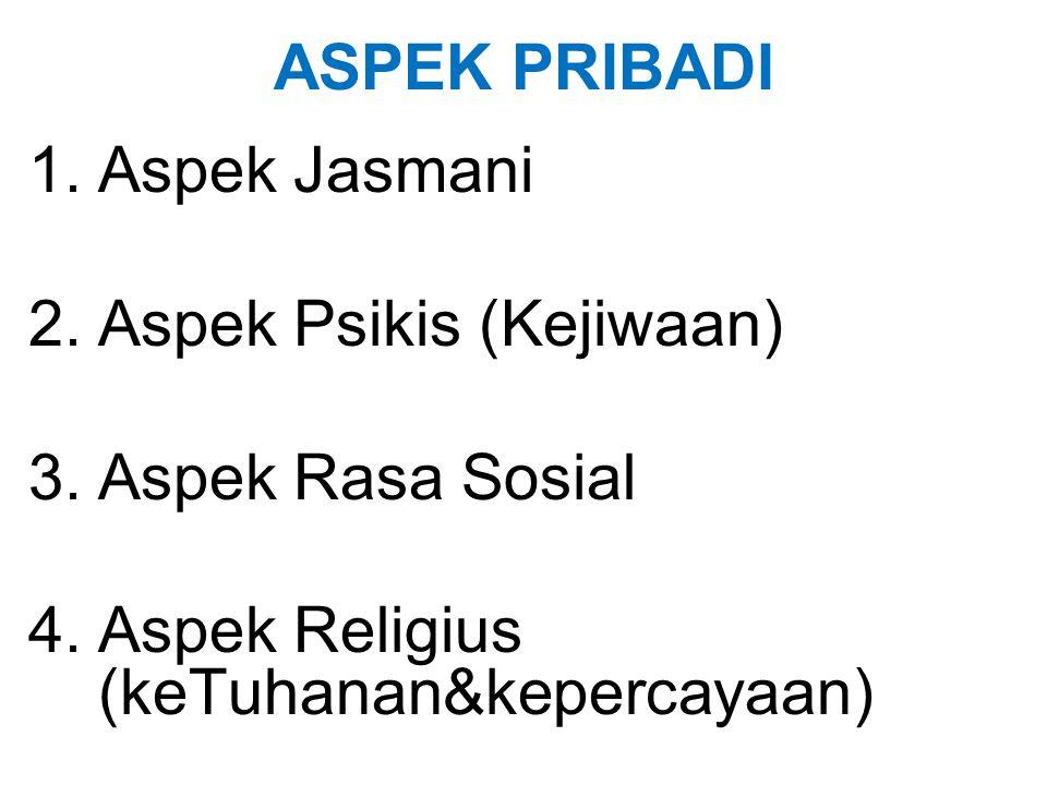 ASPEK PRIBADI Aspek Jasmani. Aspek Psikis (Kejiwaan) Aspek Rasa Sosial.