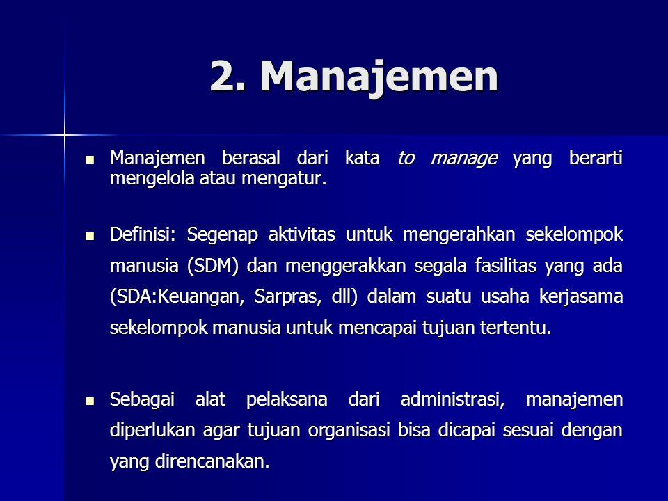 2. Manajemen Manajemen berasal dari kata to manage yang berarti mengelola atau mengatur.
