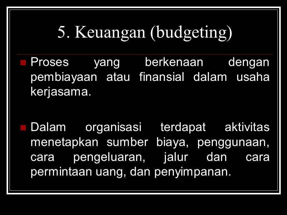 5. Keuangan (budgeting) Proses yang berkenaan dengan pembiayaan atau finansial dalam usaha kerjasama.