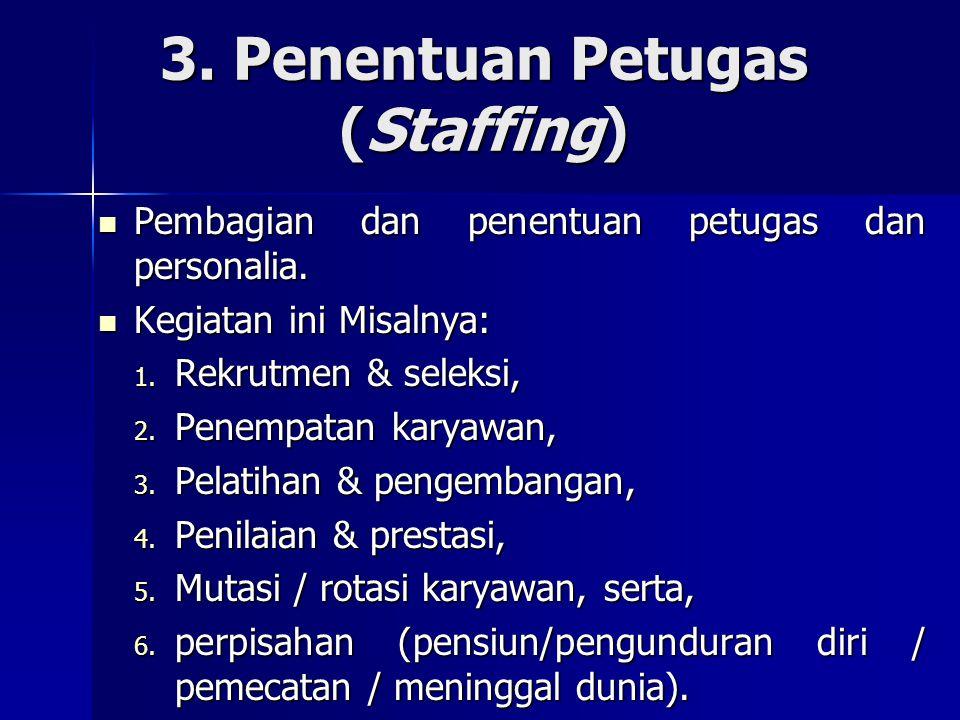 3. Penentuan Petugas (Staffing)