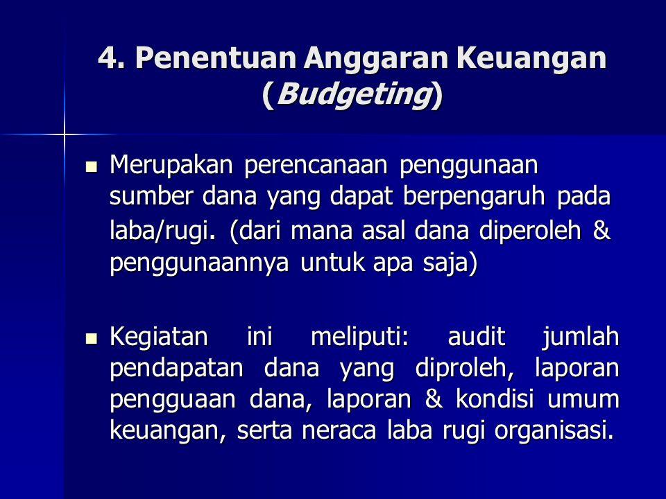 4. Penentuan Anggaran Keuangan (Budgeting)