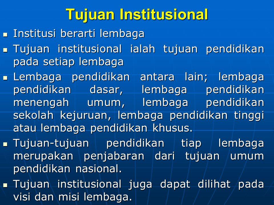 Tujuan Institusional Institusi berarti lembaga