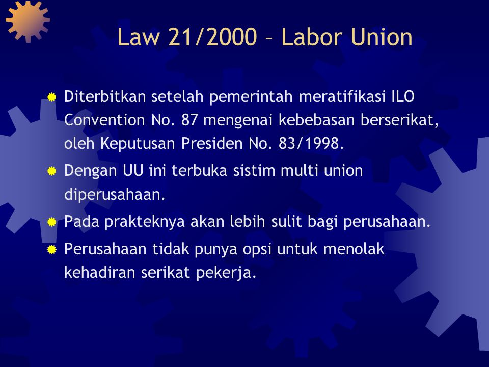 Law 21/2000 – Labor Union