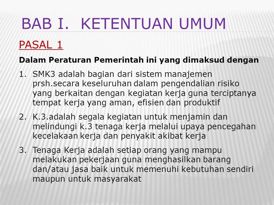BAB I. Ketentuan umum PASAL 1