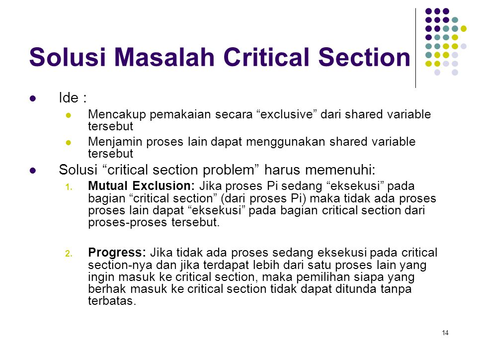Solusi Masalah Critical Section