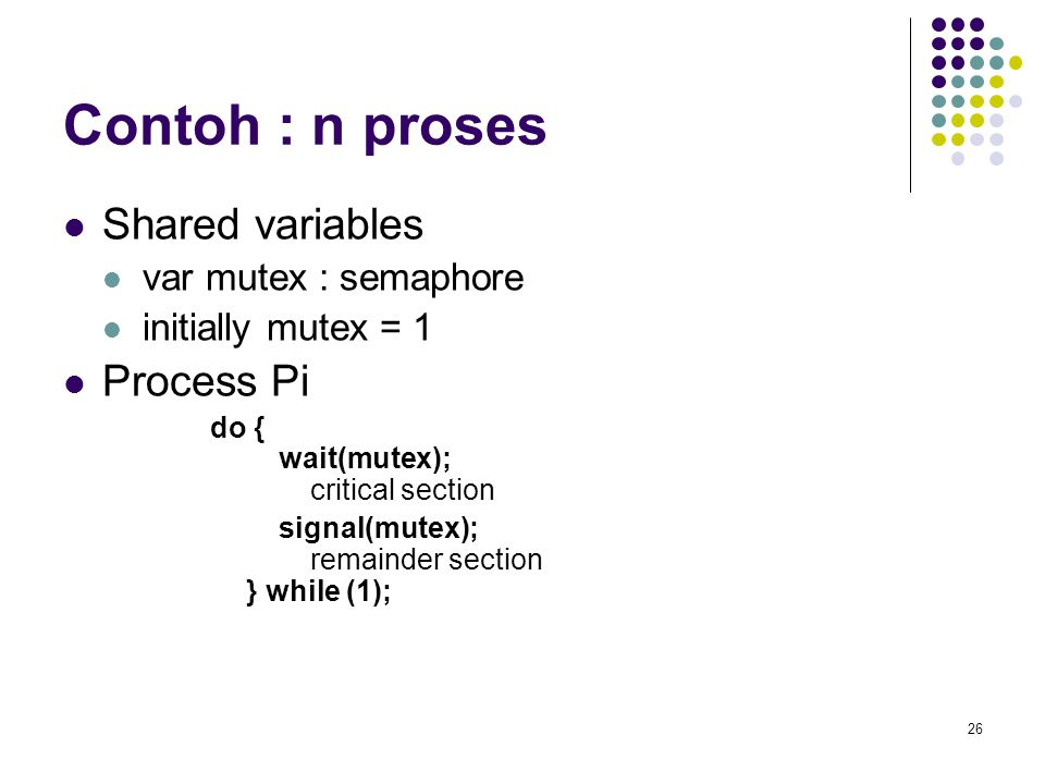 Contoh : n proses Shared variables Process Pi var mutex : semaphore