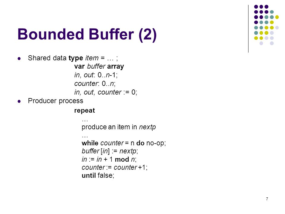 Bounded Buffer (2) repeat Shared data type item = … ; var buffer array