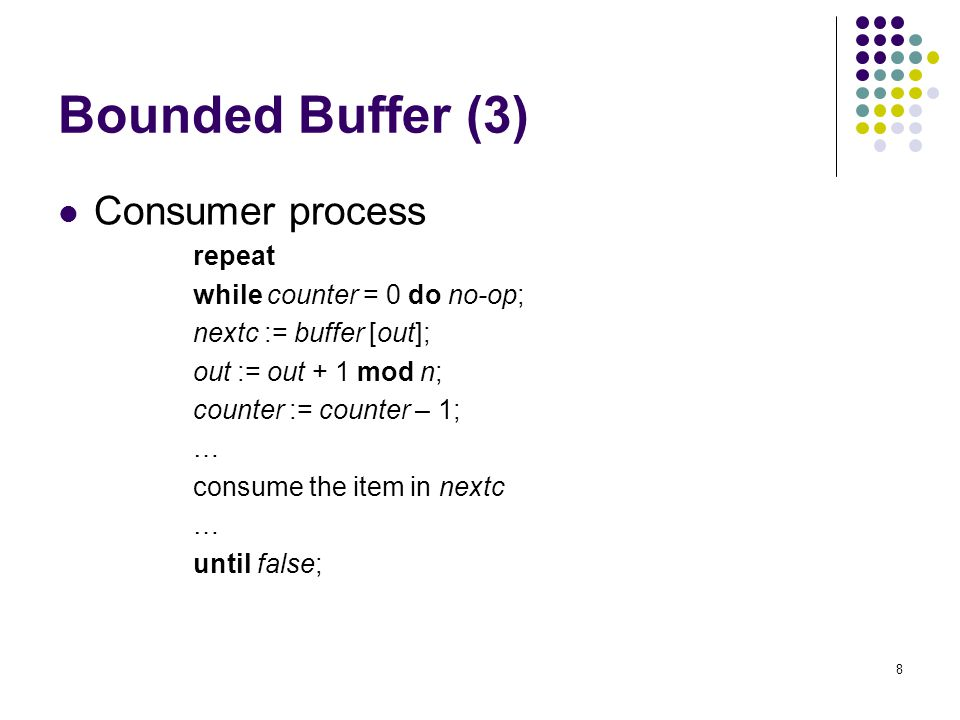 Bounded Buffer (3) Consumer process repeat while counter = 0 do no-op;
