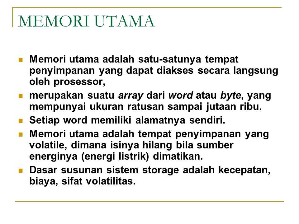 MEMORI UTAMA Memori utama adalah satu-satunya tempat penyimpanan yang dapat diakses secara langsung oleh prosessor,