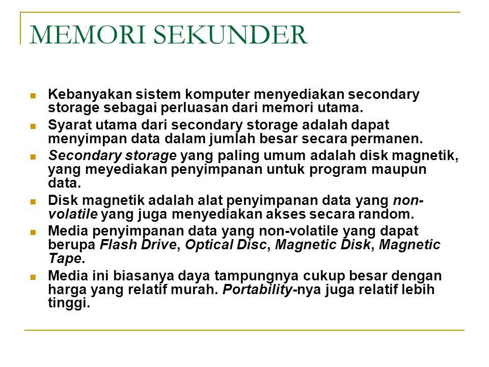 MEMORI SEKUNDER Kebanyakan sistem komputer menyediakan secondary storage sebagai perluasan dari memori utama.