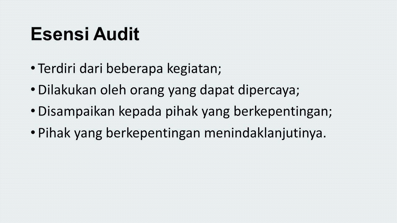 Esensi Audit Terdiri dari beberapa kegiatan;