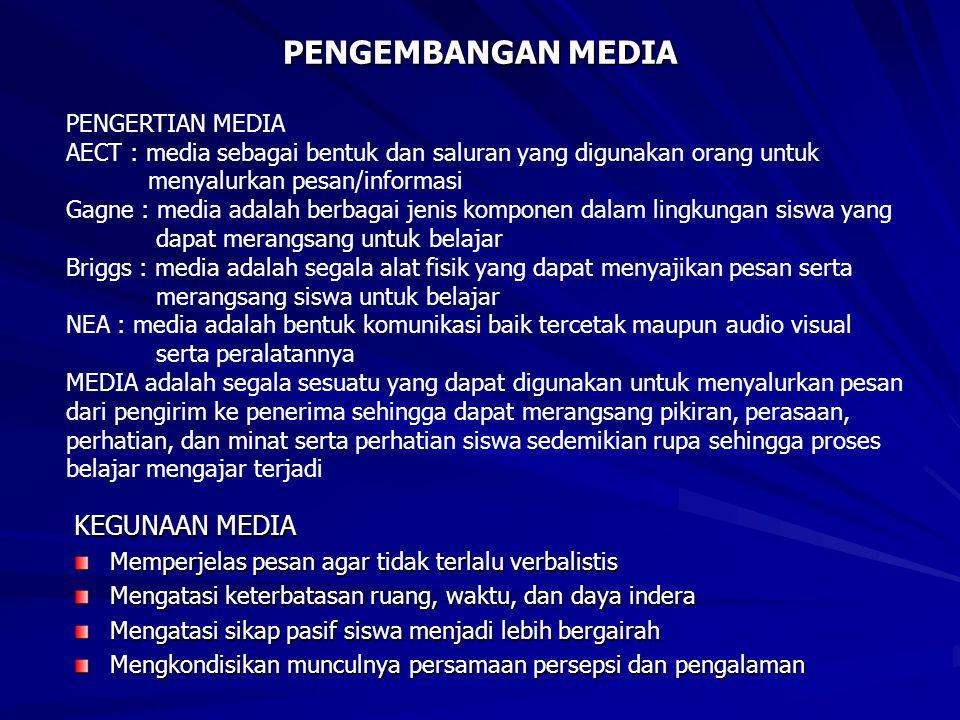PENGEMBANGAN MEDIA KEGUNAAN MEDIA PENGERTIAN MEDIA