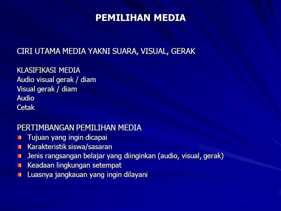PEMILIHAN MEDIA CIRI UTAMA MEDIA YAKNI SUARA, VISUAL, GERAK