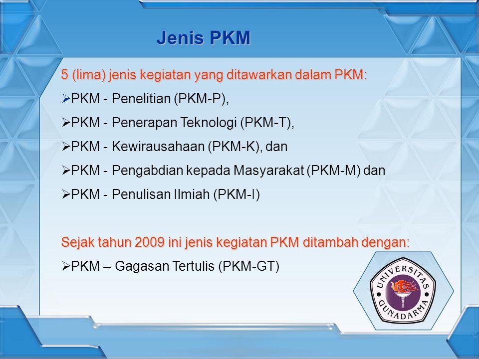 Jenis PKM 5 (lima) jenis kegiatan yang ditawarkan dalam PKM: