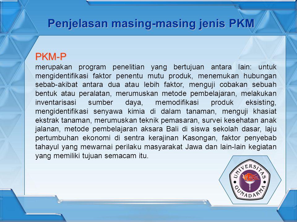 Penjelasan masing-masing jenis PKM