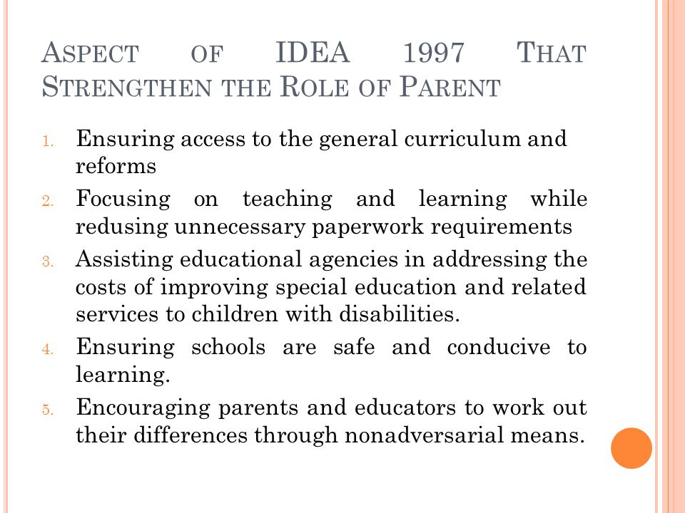 Aspect of IDEA 1997 That Strengthen the Role of Parent