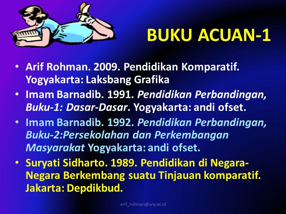 BUKU ACUAN-1 Arif Rohman. 2009. Pendidikan Komparatif. Yogyakarta: Laksbang Grafika.