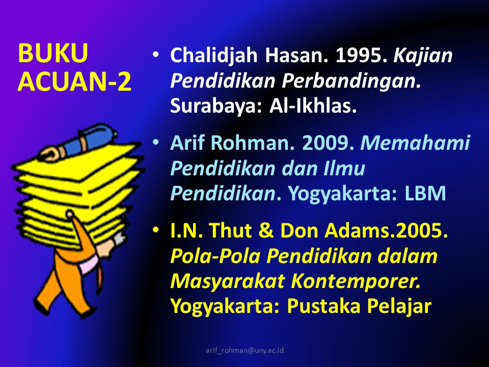 BUKU ACUAN-2 Chalidjah Hasan. 1995. Kajian Pendidikan Perbandingan. Surabaya: Al-Ikhlas.