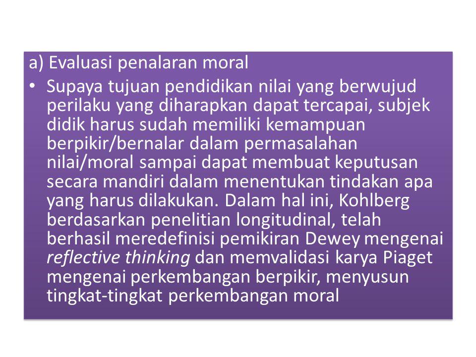 a) Evaluasi penalaran moral