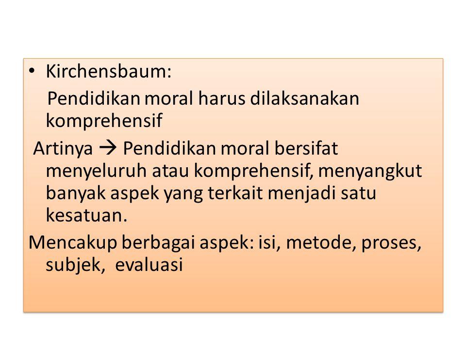 Kirchensbaum: Pendidikan moral harus dilaksanakan komprehensif.
