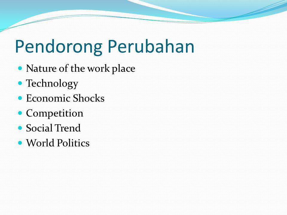 Pendorong Perubahan Nature of the work place Technology