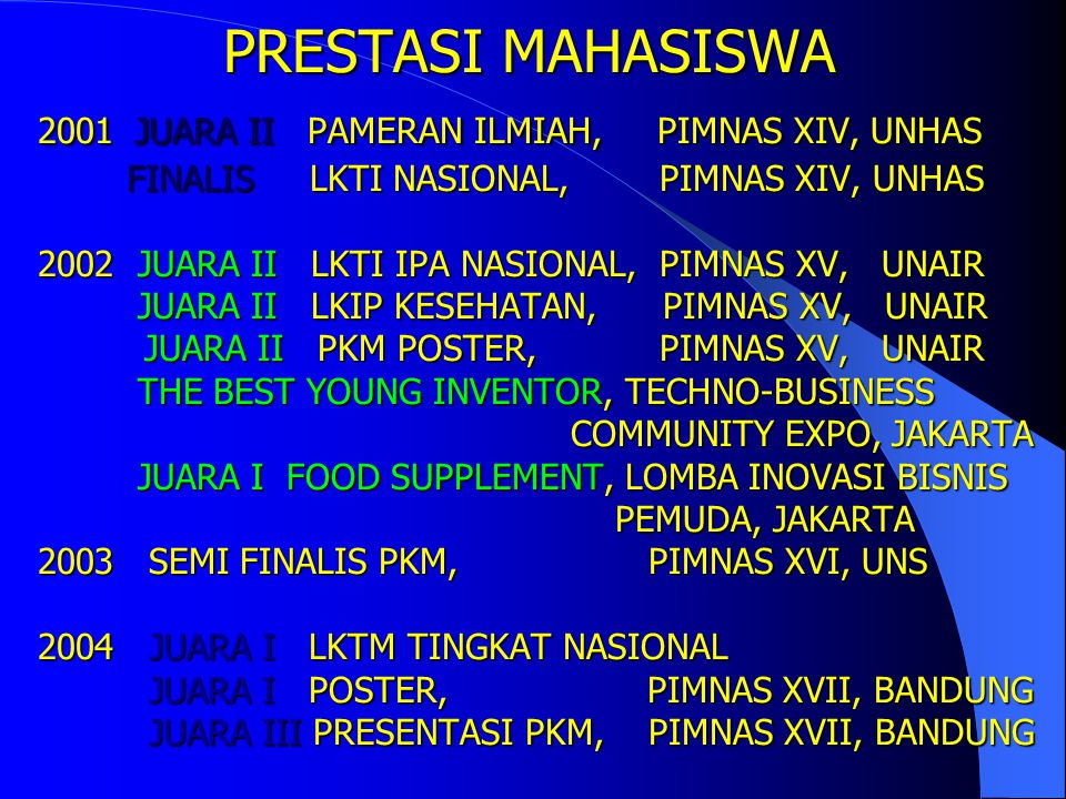 PRESTASI MAHASISWA 2001 JUARA II PAMERAN ILMIAH, PIMNAS XIV, UNHAS FINALIS LKTI NASIONAL, PIMNAS XIV, UNHAS 2002 JUARA II LKTI IPA NASIONAL, PIMNAS XV, UNAIR JUARA II LKIP KESEHATAN, PIMNAS XV, UNAIR JUARA II PKM POSTER, PIMNAS XV, UNAIR THE BEST YOUNG INVENTOR, TECHNO-BUSINESS COMMUNITY EXPO, JAKARTA JUARA I FOOD SUPPLEMENT, LOMBA INOVASI BISNIS PEMUDA, JAKARTA 2003 SEMI FINALIS PKM, PIMNAS XVI, UNS 2004 JUARA I LKTM TINGKAT NASIONAL JUARA I POSTER, PIMNAS XVII, BANDUNG JUARA III PRESENTASI PKM, PIMNAS XVII, BANDUNG