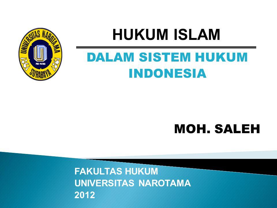 HUKUM ISLAM DALAM SISTEM HUKUM INDONESIA MOH. SALEH FAKULTAS HUKUM