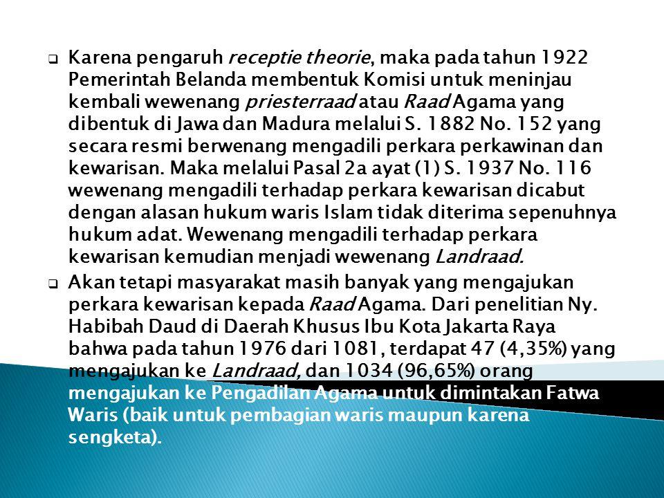 Karena pengaruh receptie theorie, maka pada tahun 1922 Pemerintah Belanda membentuk Komisi untuk meninjau kembali wewenang priesterraad atau Raad Agama yang dibentuk di Jawa dan Madura melalui S. 1882 No. 152 yang secara resmi berwenang mengadili perkara perkawinan dan kewarisan. Maka melalui Pasal 2a ayat (1) S. 1937 No. 116 wewenang mengadili terhadap perkara kewarisan dicabut dengan alasan hukum waris Islam tidak diterima sepenuhnya hukum adat. Wewenang mengadili terhadap perkara kewarisan kemudian menjadi wewenang Landraad.