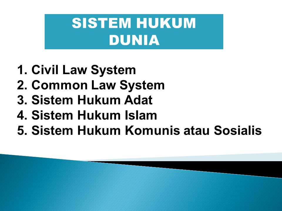 SISTEM HUKUM DUNIA 1. Civil Law System 2. Common Law System
