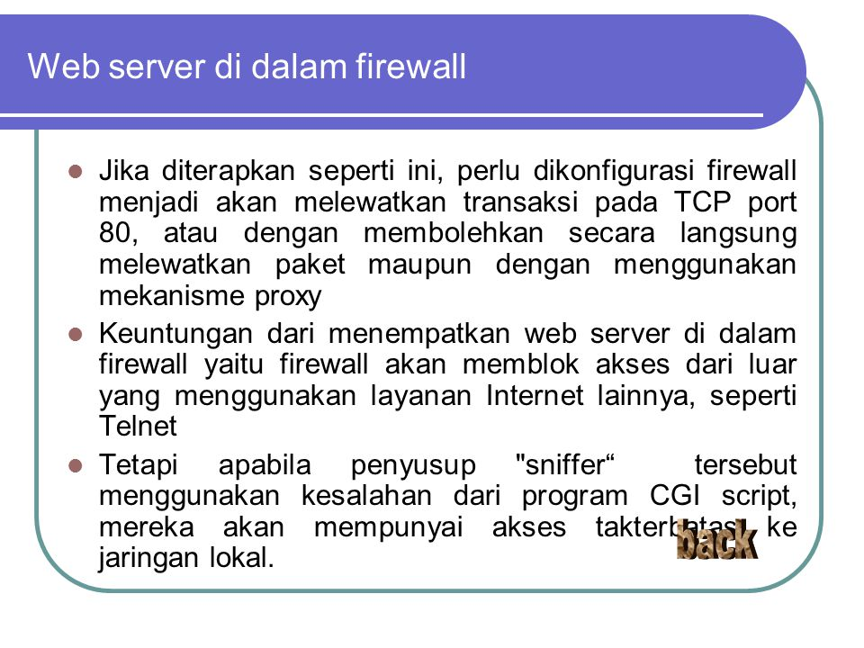 Web server di dalam firewall