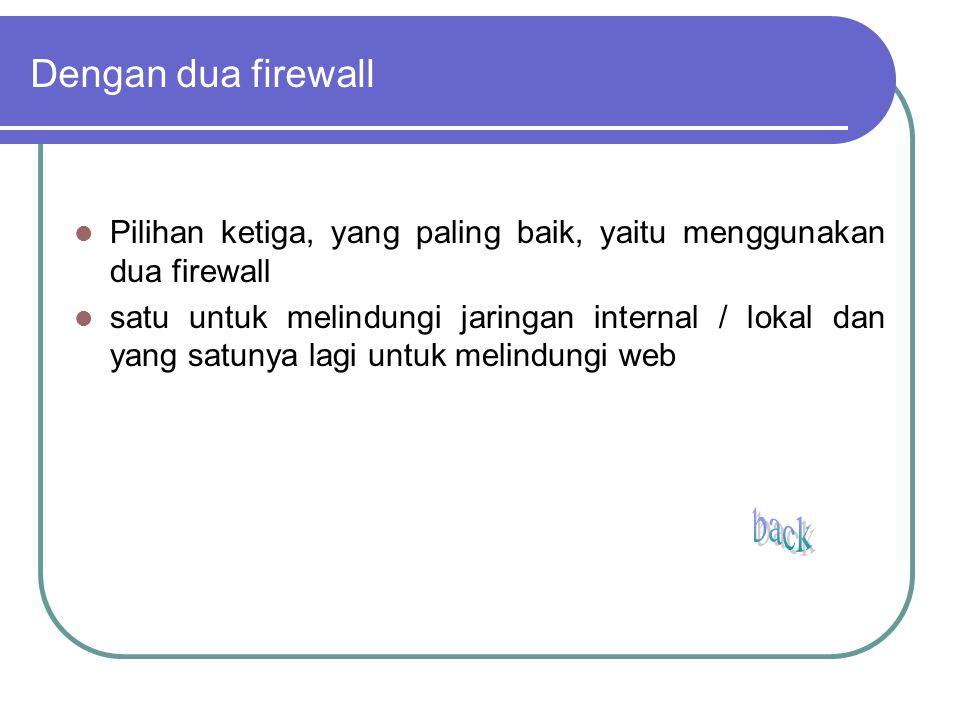 Dengan dua firewall Pilihan ketiga, yang paling baik, yaitu menggunakan dua firewall.