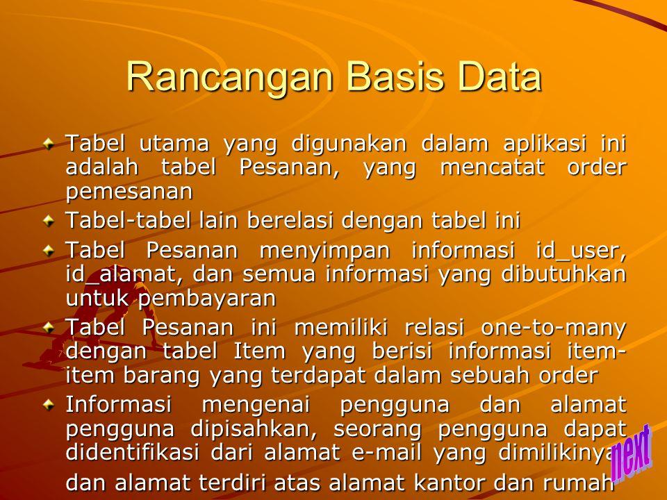 Rancangan Basis Data Tabel utama yang digunakan dalam aplikasi ini adalah tabel Pesanan, yang mencatat order pemesanan.