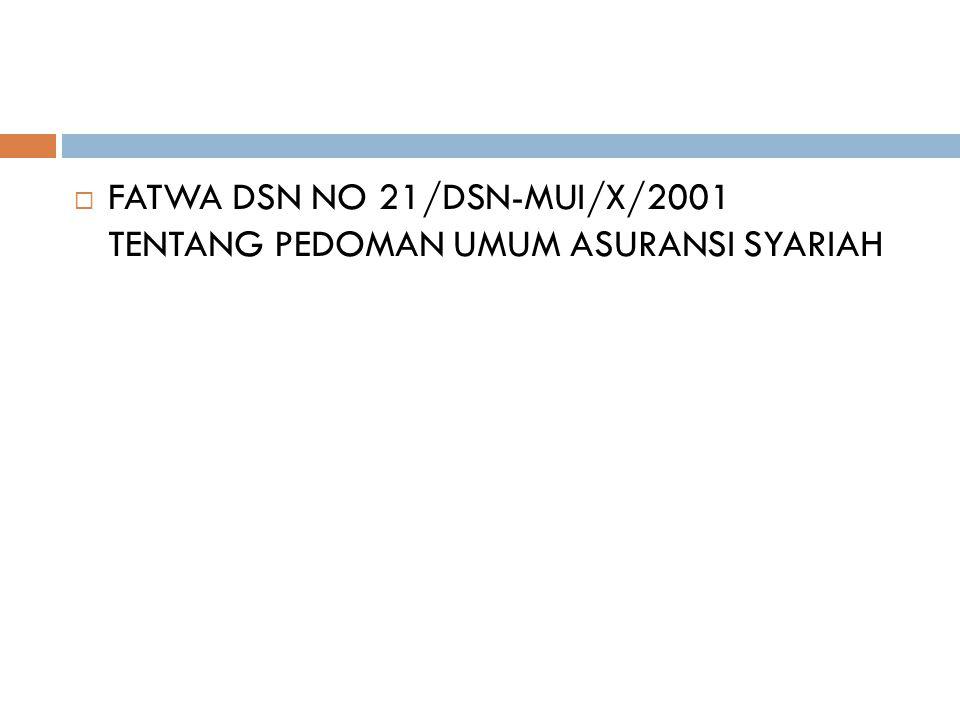 FATWA DSN NO 21/DSN-MUI/X/2001 TENTANG PEDOMAN UMUM ASURANSI SYARIAH