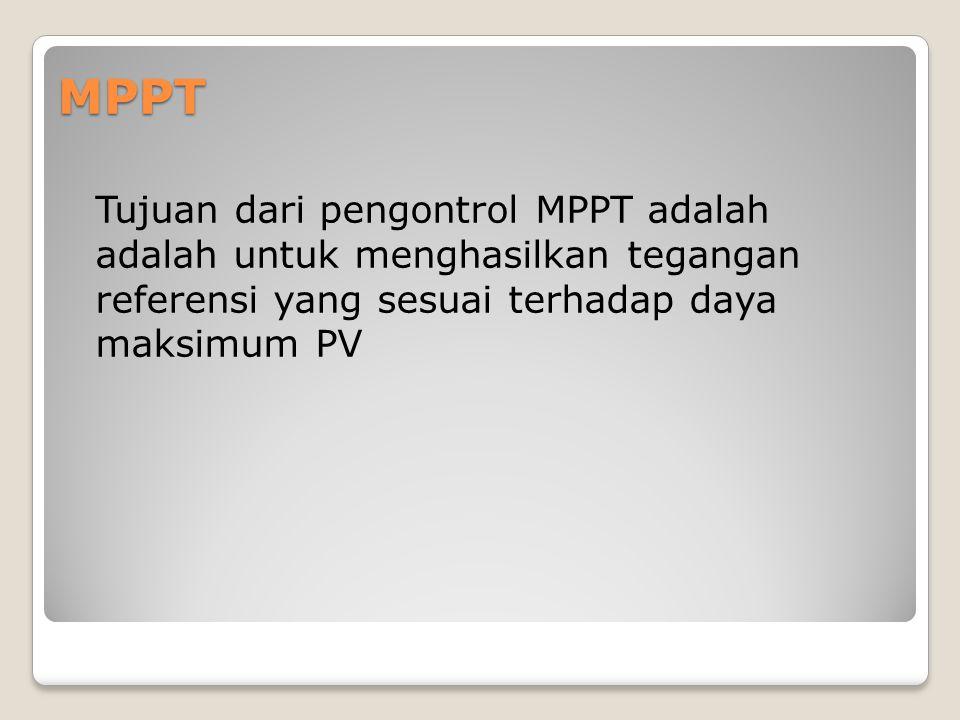 MPPT Tujuan dari pengontrol MPPT adalah adalah untuk menghasilkan tegangan referensi yang sesuai terhadap daya maksimum PV.