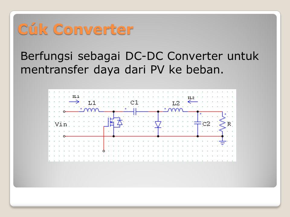 Cúk Converter Berfungsi sebagai DC-DC Converter untuk mentransfer daya dari PV ke beban.