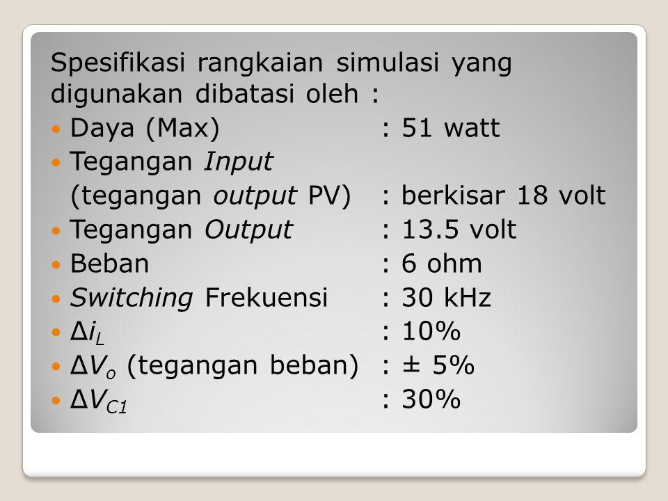 Spesifikasi rangkaian simulasi yang digunakan dibatasi oleh :