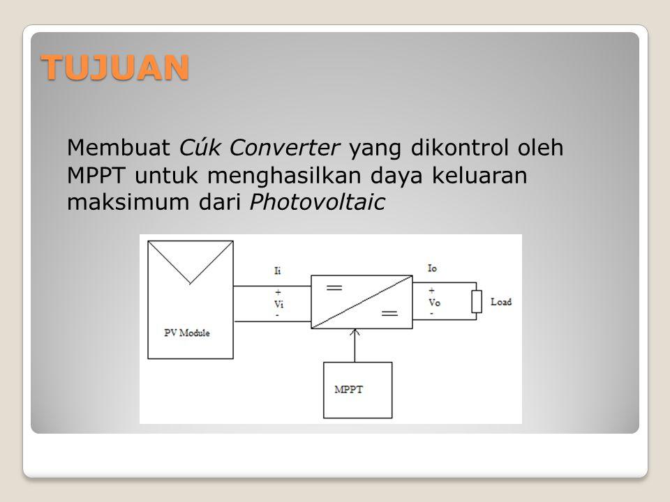 TUJUAN Membuat Cúk Converter yang dikontrol oleh MPPT untuk menghasilkan daya keluaran maksimum dari Photovoltaic.