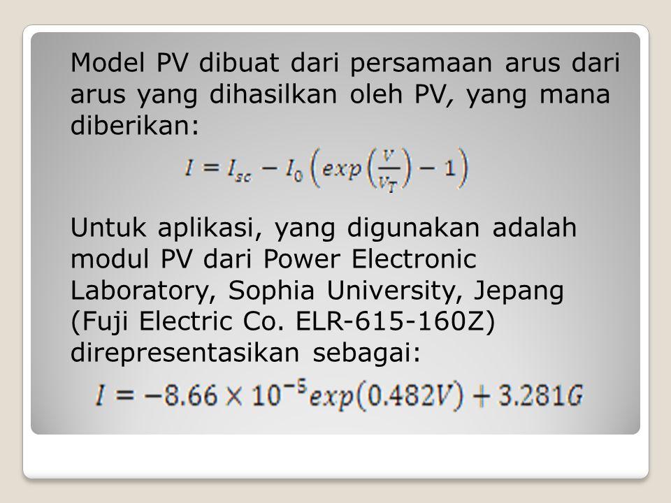 Model PV dibuat dari persamaan arus dari arus yang dihasilkan oleh PV, yang mana diberikan: Untuk aplikasi, yang digunakan adalah modul PV dari Power Electronic Laboratory, Sophia University, Jepang (Fuji Electric Co.