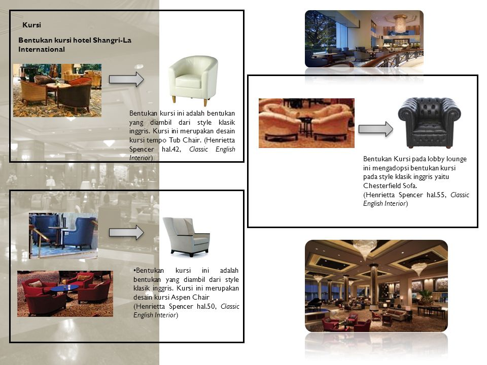 Kursi Bentukan kursi hotel Shangri-La International.