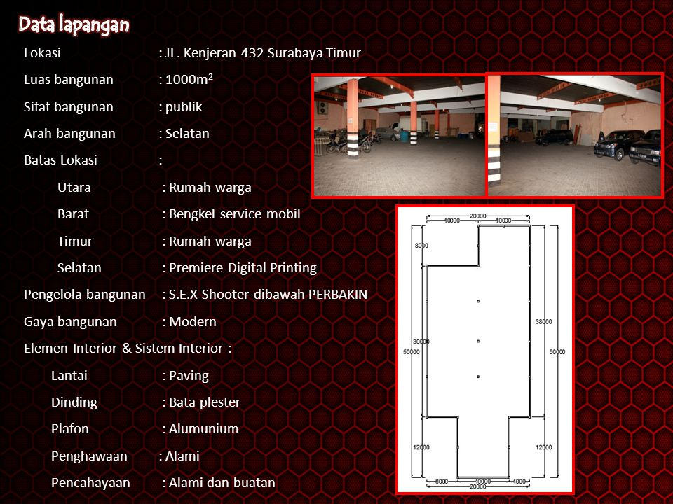 Data lapangan Lokasi : JL. Kenjeran 432 Surabaya Timur